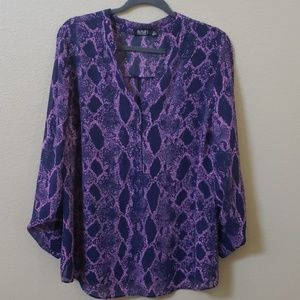 Ana sheer blouse purple and blue size 1X